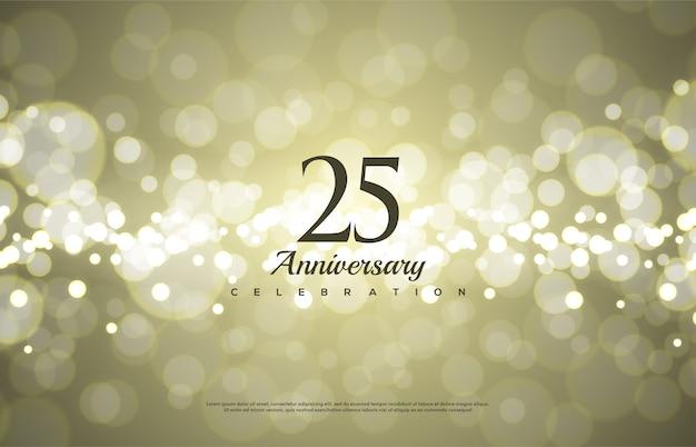 Celebração do 25º aniversário com números pretos em ouro desfocar o fundo.