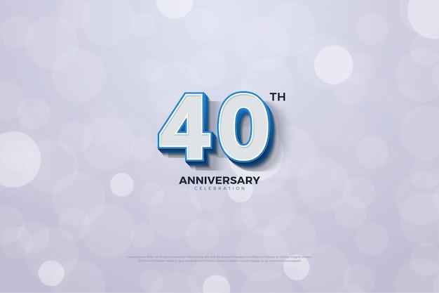Celebração do 40º aniversário com número branco e linha azul no número