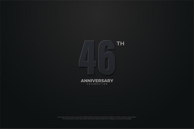Celebração do 46º aniversário com números e fundo escuro