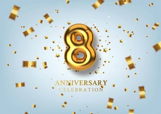 Celebração do 8º aniversário número na forma de balões dourados.