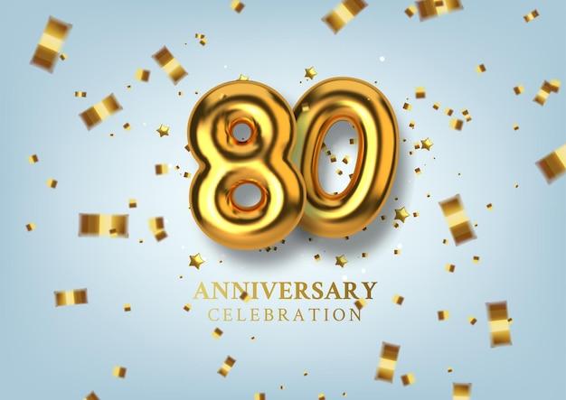 Celebração do 80º aniversário número na forma de balões dourados.