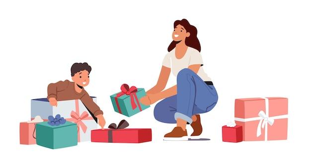 Celebração do aniversário do bebê. mãe preparou presente surpresa para o filho pequeno. menino da criança abrindo presentes na sala com a mãe e caixas embrulhadas, isoladas no fundo branco. ilustração em vetor de desenho animado