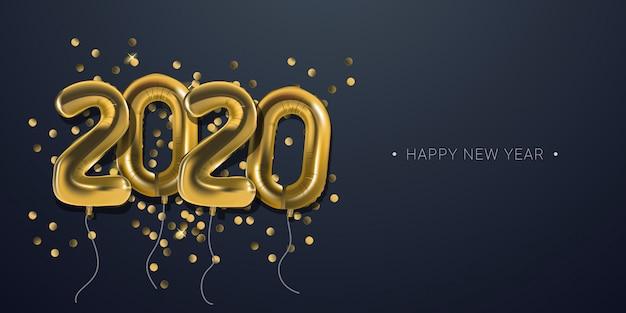 Celebração do ano novo 2020 com fundo de banner numeral de balões de folha de ouro