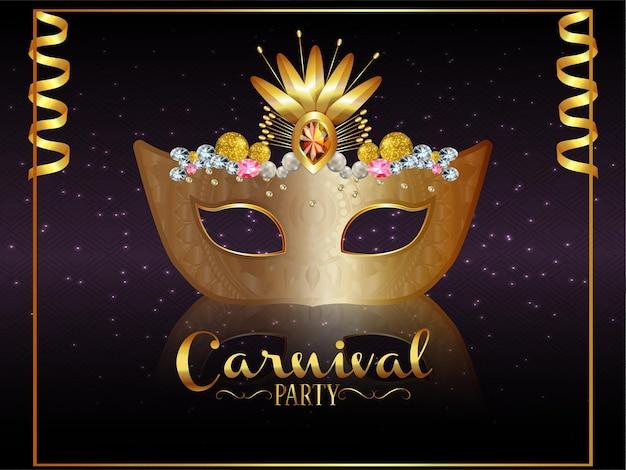 Celebração do carnaval com máscara dourada