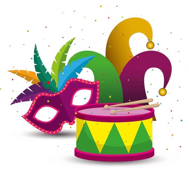 Celebração do carnaval com máscara e chapéu de festa