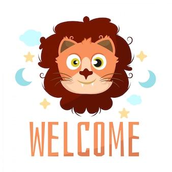 Celebração do cartão do chuveiro de bebê de desenhos animados animais leão