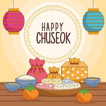 Celebração do chuseok feliz com comida e lanternas penduradas