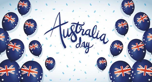 Celebração do dia da austrália com bandeiras de hélio balões