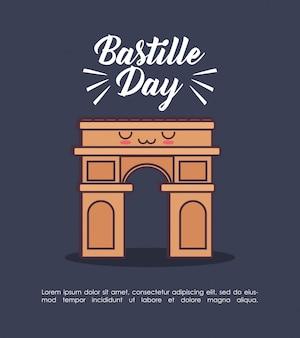 Celebração do dia da bastilha com arco de triunfo