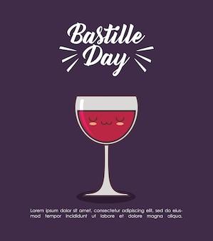 Celebração do dia da bastilha com vinho kawaii