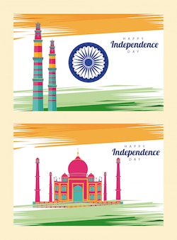 Celebração do dia da independência da índia com mesquita taj mahal e ashoka chakra