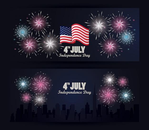 Celebração do dia da independência de quarto julho eua com bandeira e fogos de artifício