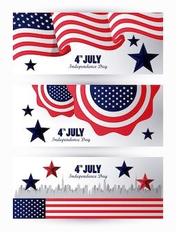 Celebração do dia da independência de quarto julho eua com bandeira em renda e paisagem urbana