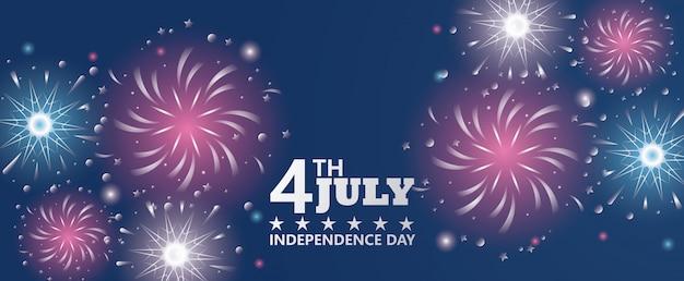 Celebração do dia da independência de quarto julho eua com fogos de artifício