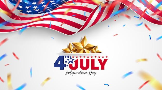 Celebração do dia da independência dos eua com bandeira americana.