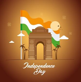 Celebração do dia da independência feliz índia com famoso monumento