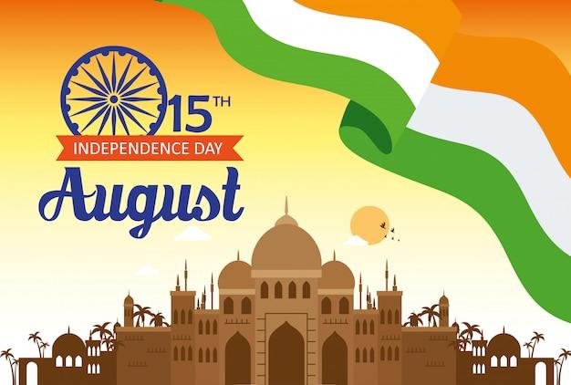 Celebração do dia da independência feliz índia com monumento famoso, 15 de agosto celebração