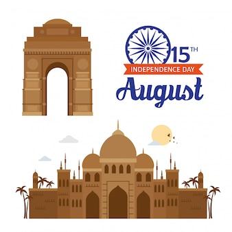 Celebração do dia da independência feliz índia com monumentos famosos, celebração do 15 de agosto