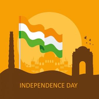 Celebração do dia da independência feliz índia com silhueta de monumentos famosos