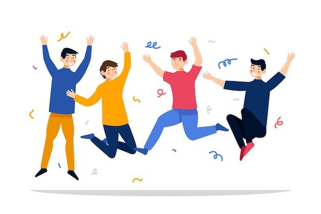 Celebração do dia da juventude com pessoas a saltar