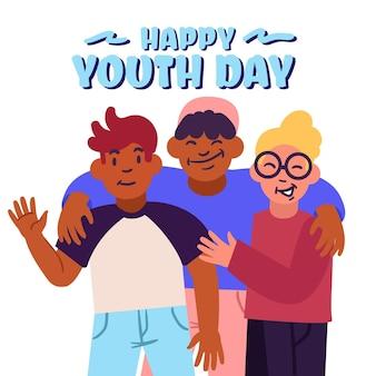 Celebração do dia da juventude com pessoas abraçando juntos