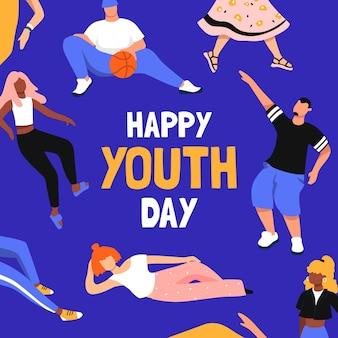 Celebração do dia da juventude de design plano