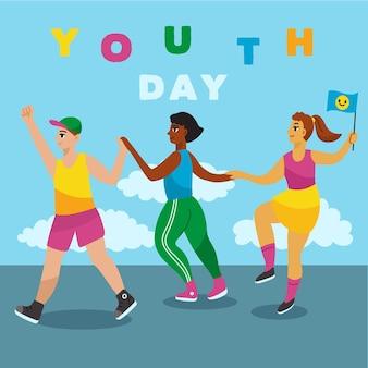 Celebração do dia da juventude de mão desenhada design
