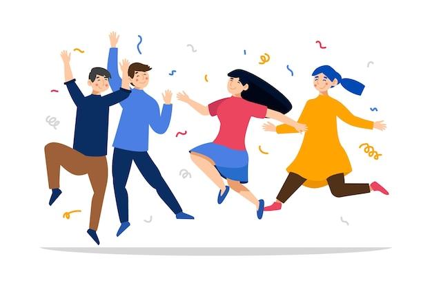 Celebração do dia da juventude de pessoas pulando