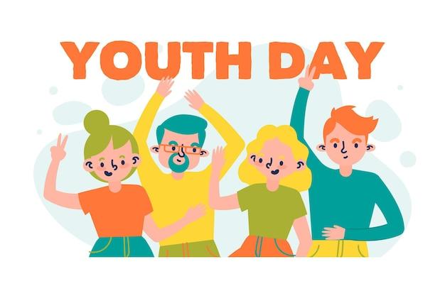 Celebração do dia da juventude mão estilo desenhado