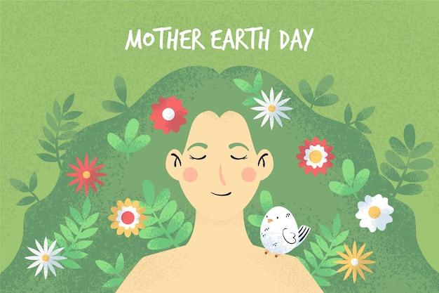 Celebração do dia da mãe terra desenhados à mão