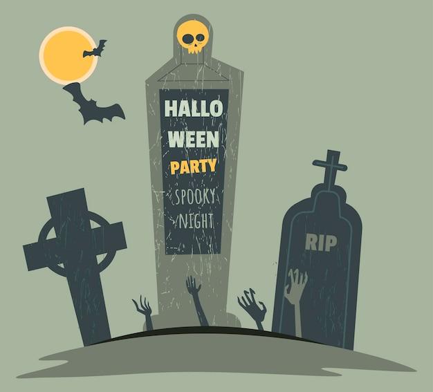 Celebração do dia das bruxas na festa de 31 de outubro, cemitério noturno com sepulturas e lápides