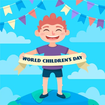 Celebração do dia das crianças com design plano