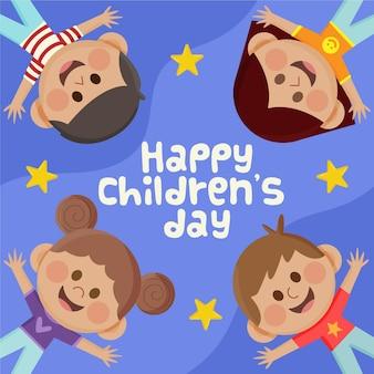 Celebração do dia das crianças do mundo plano