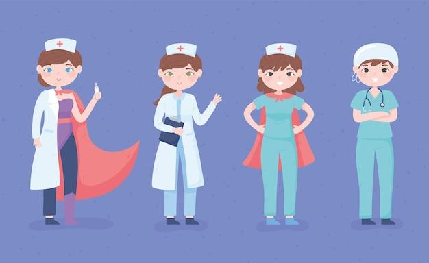 Celebração do dia das enfermeiras, desenho da equipe