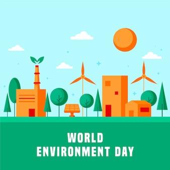 Celebração do dia de ambiente mundial de design plano