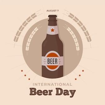 Celebração do dia de cerveja com garrafa