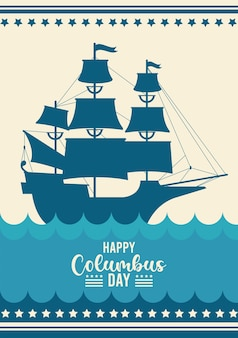 Celebração do dia de colombo feliz com o navio e letras.