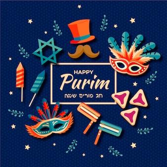 Celebração do dia de design plano purim