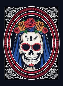 Celebração do dia de los muertos com caveira de mulher e rosas em design de ilustração vetorial moldura quadrada