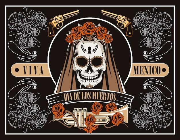 Celebração do dia de los muertos com caveira de mulher e trompete em design de ilustração vetorial de fundo marrom