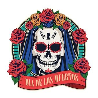Celebração do dia de los muertos com caveira de mulher em design de ilustração vetorial de moldura de fita vermelha