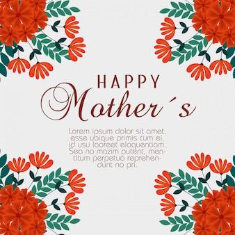 Celebração do dia de mães com decoração de plantas de flores