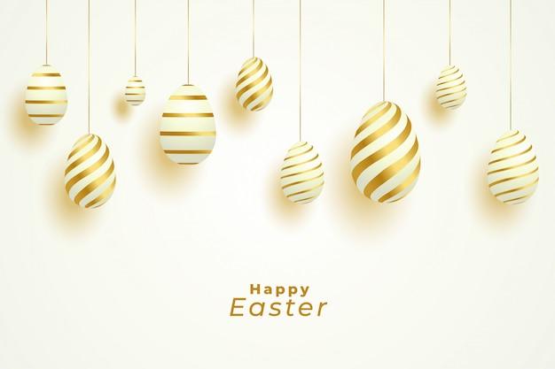 Celebração do dia de páscoa com decoração de ovos de ouro