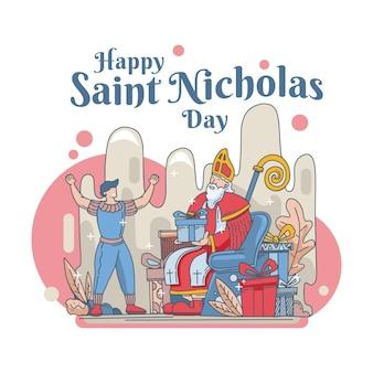 Celebração do dia de são nicolau desenhada à mão