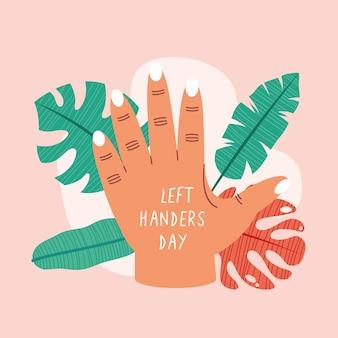 Celebração do dia do canhoto com a mão aberta