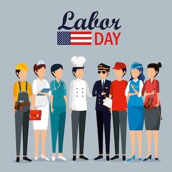 Celebração do dia do trabalho com trabalhadores profissionais