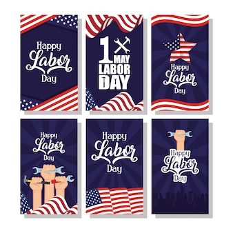Celebração do dia do trabalho feliz com bandeiras dos eua e conjunto de ícones