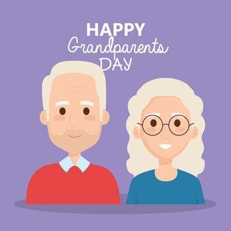 Celebração do dia dos avós com personagens de casal