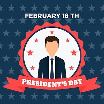 Celebração do dia dos presidentes de design plano