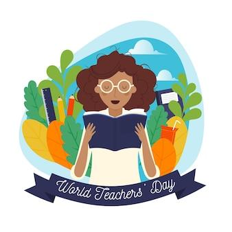 Celebração do dia dos professores de design desenhado à mão